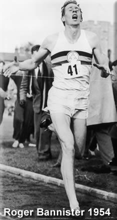 Roger Bannister na corrida de 1954, superação