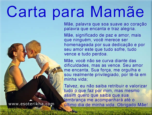 carta para o dia das mães