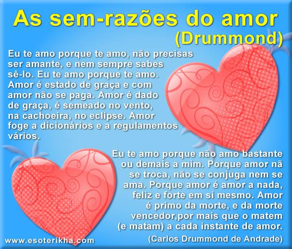 Mensagem De Amor Texto De Drummond As Sem Razões Do Amor