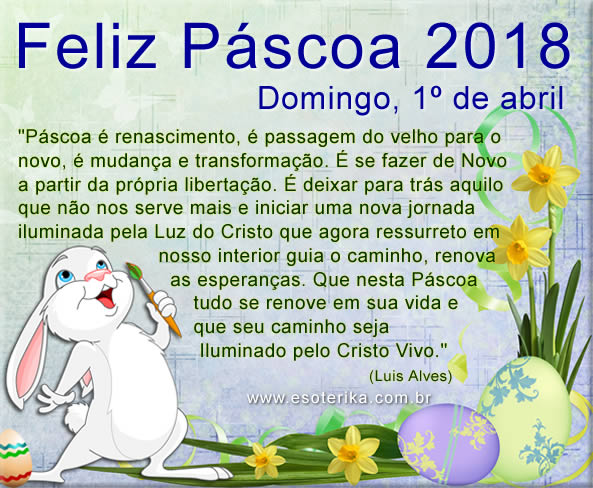 páscoa 2018, domingo 01 de abril