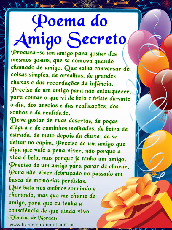 cartas para amigo secreto, poema do amigo secreto para facebook
