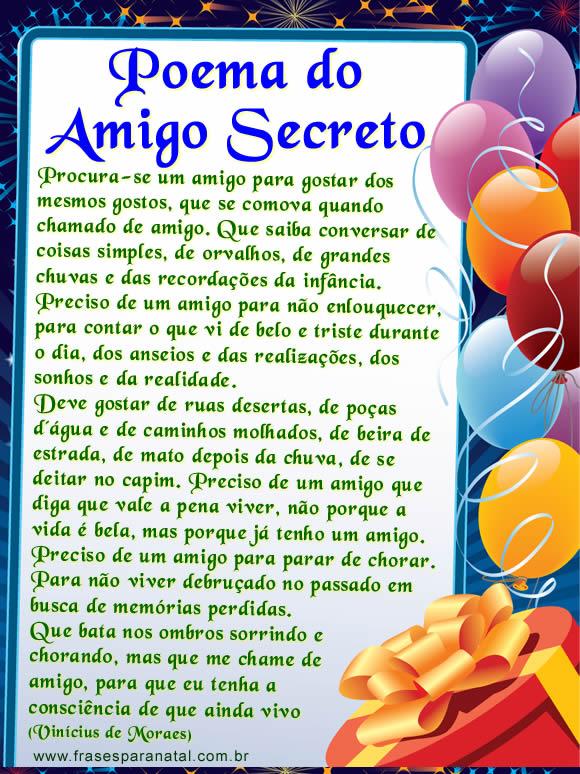 cartas para amigo secreto, poema do amigo secreto para facebook