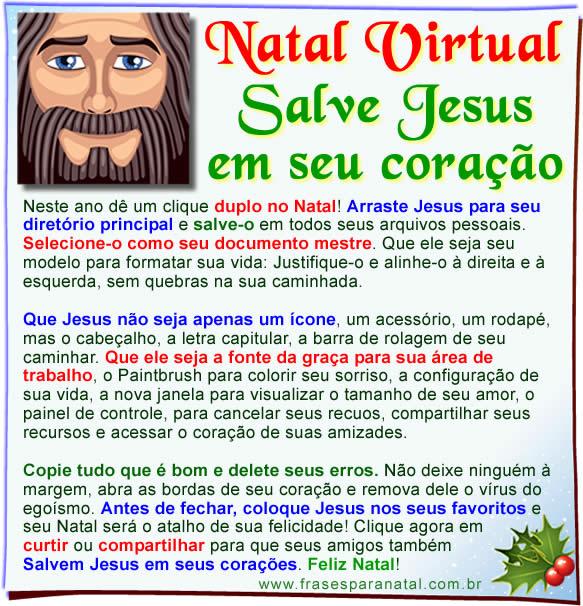 mensagem de natal, salve Jesus em seu coração